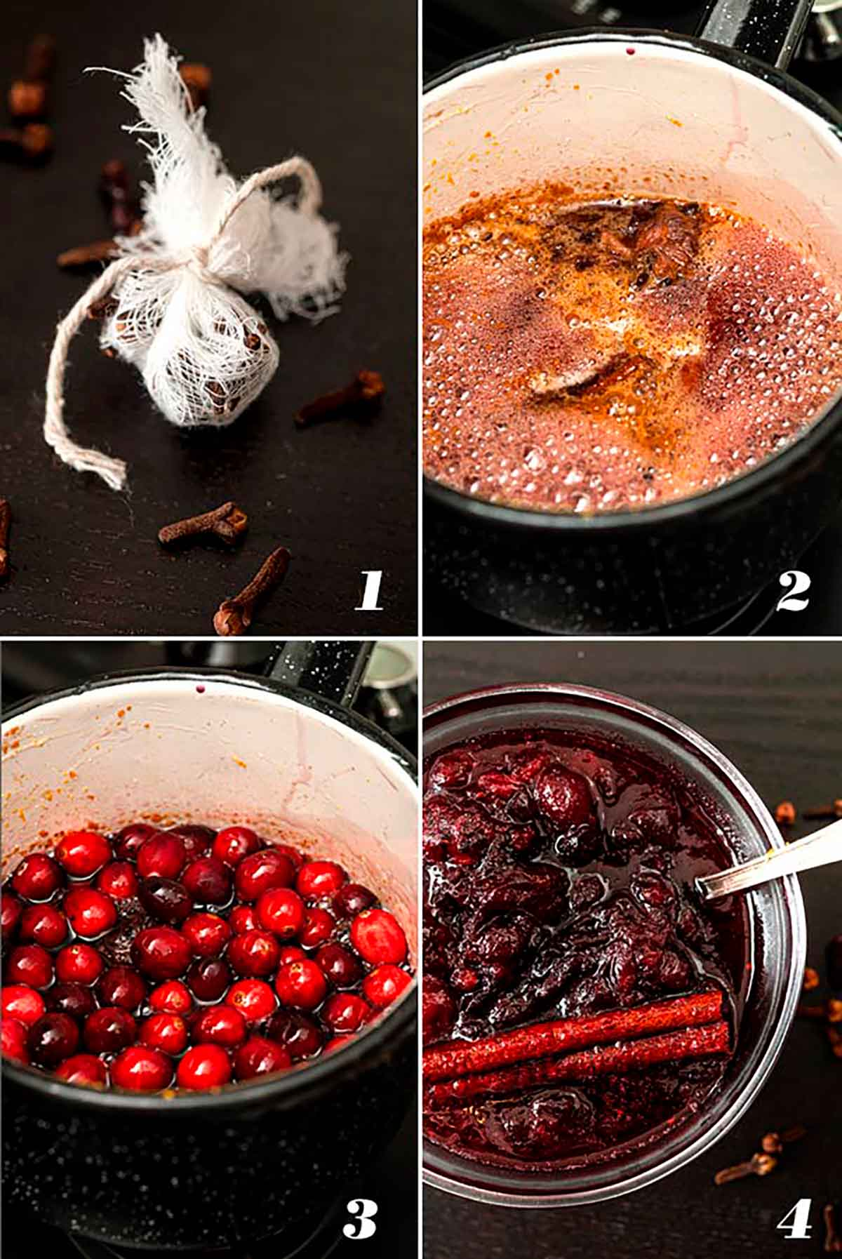 A collage of 4 numbered images showing how to make spiced cabernet cranberry sauce.