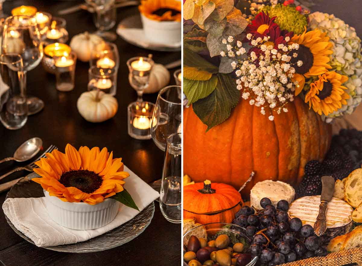 2 images, showing sunflowers used in a table place setting and in a pumpkin bouquet with appetizers.