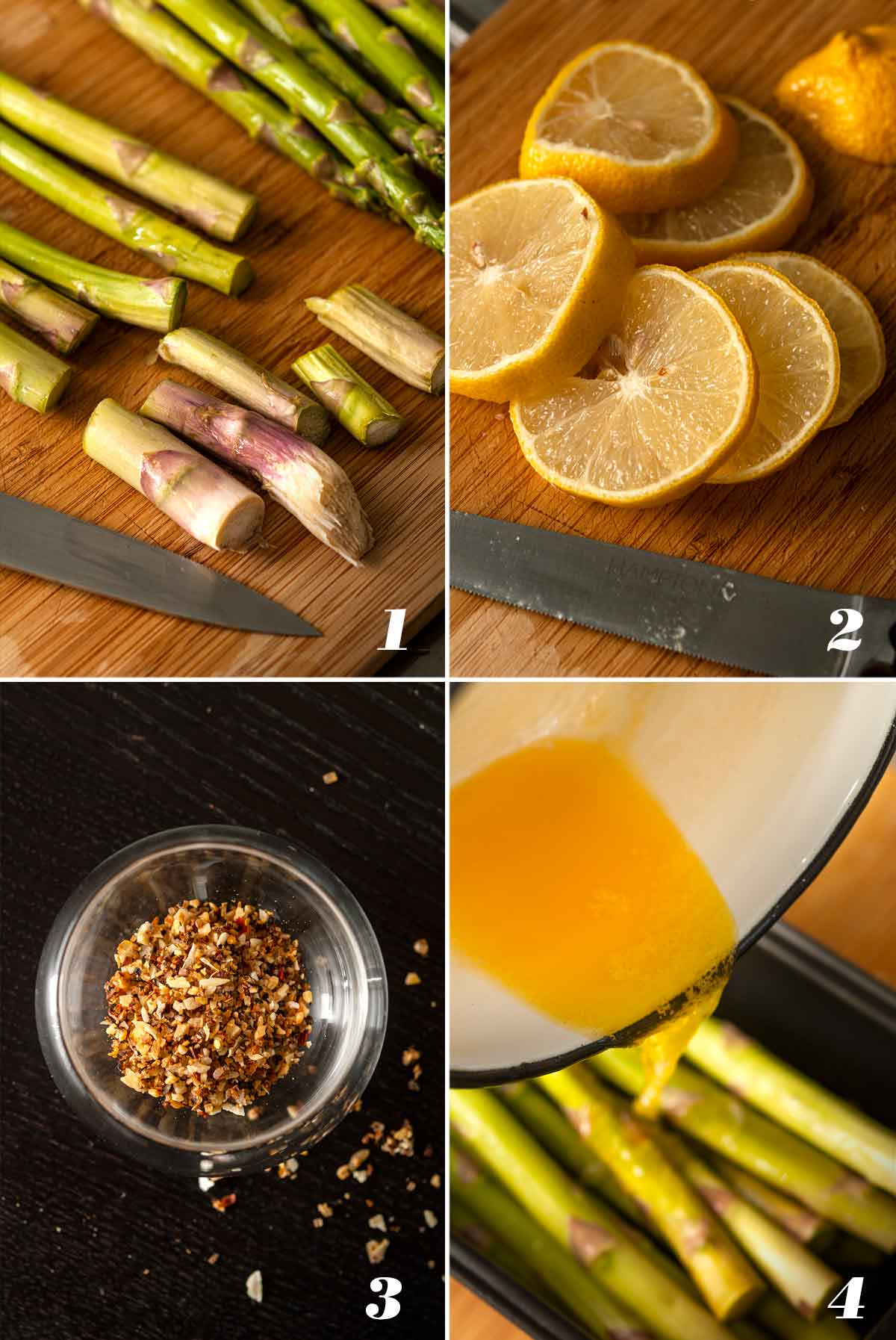 A collage of 4 numbered images showing how to prepare lemon asparagus.