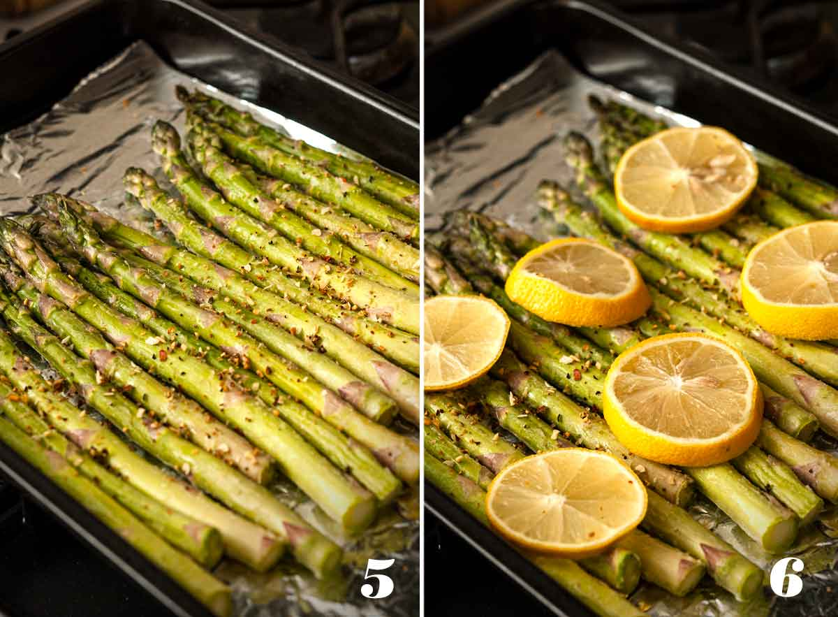 2 numbered images: On the left, asparagus on a pan. On the right: asparagus on a pan with lemon slices.