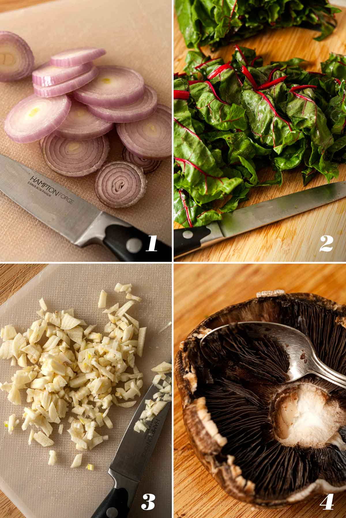 A collage of 4 numbered images showing how to prep vegetables for sautéing.