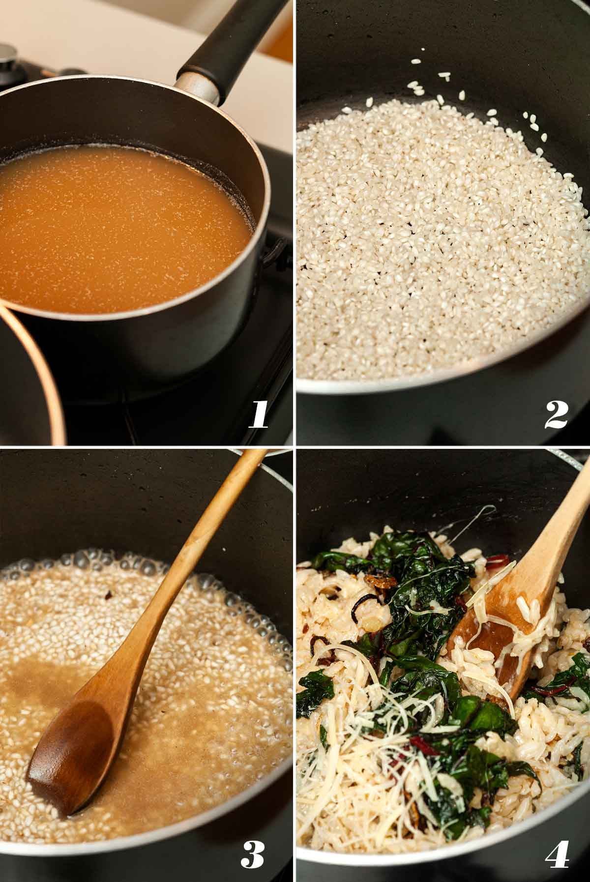 A collage of 4 numbered images showing how to make stove-top risotto.