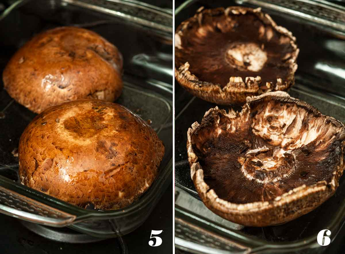 2 numbered images. One, showing mushrooms face-down in a pyrex. The other, showing 2 mushrooms face-up.