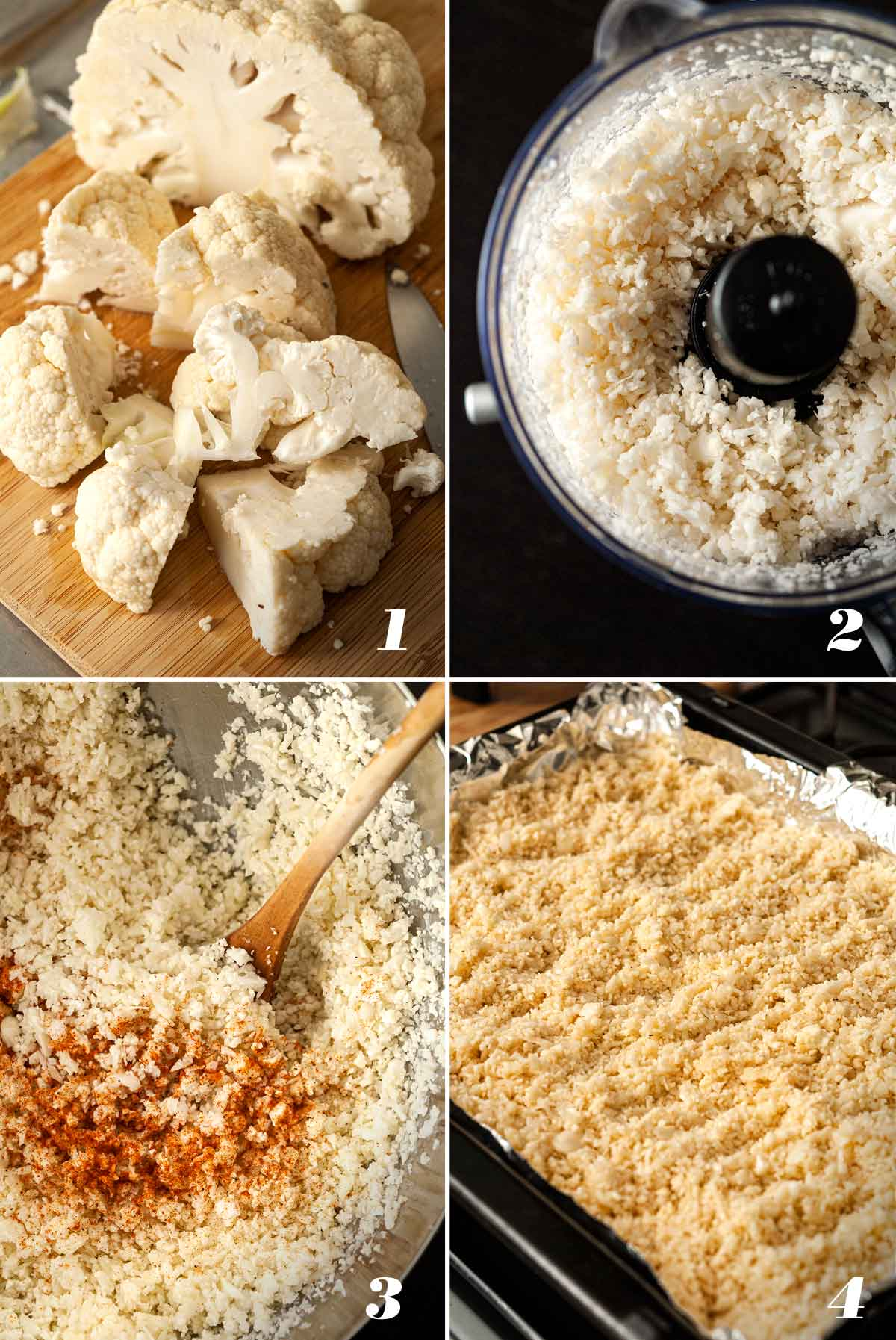 A collage of 4 numbered images showing how to make coconut cauliflower rice.