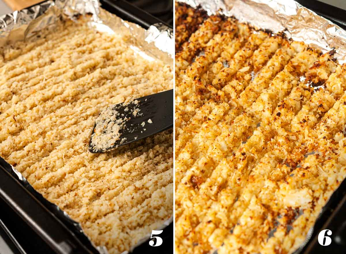 A collage of 2 numbered images showing how to make coconut cauliflower rice.