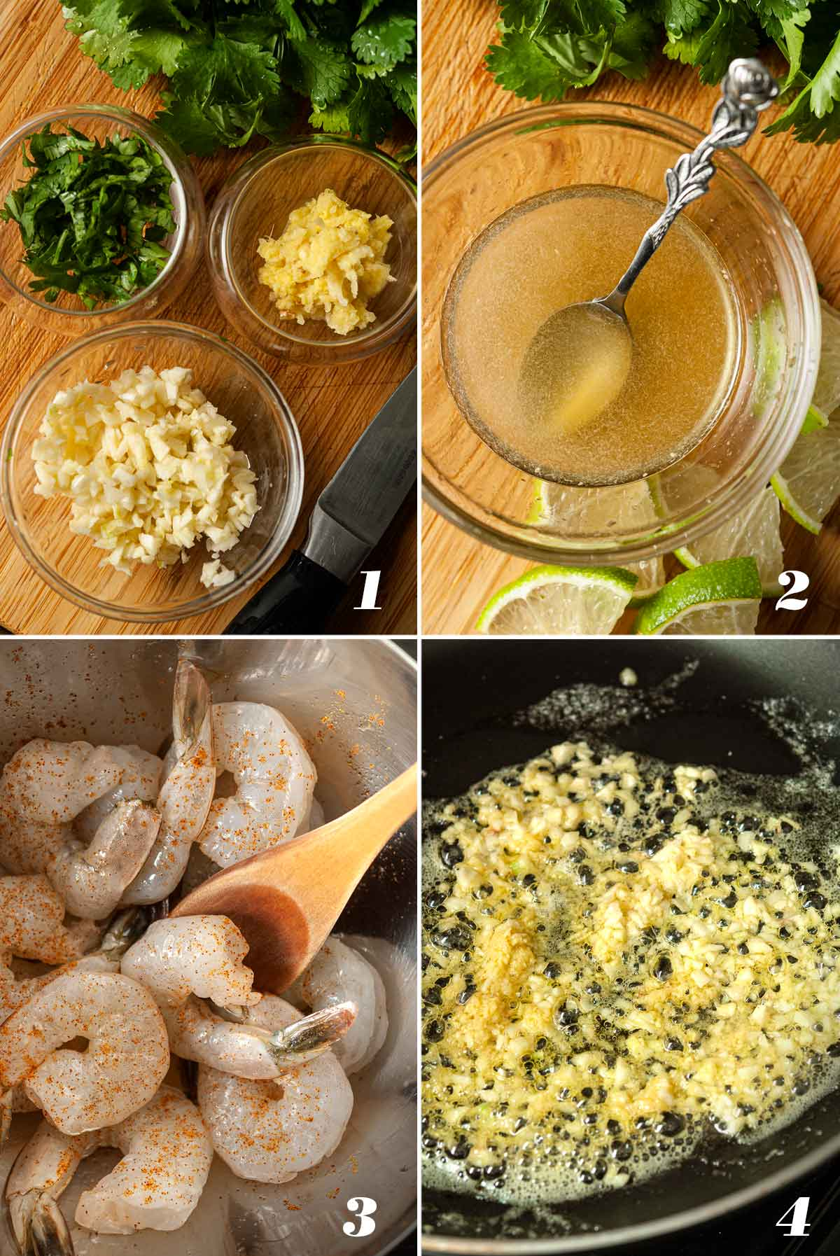 A collage of 4 numbered images showing how to prepare ingredients for honey shrimp.