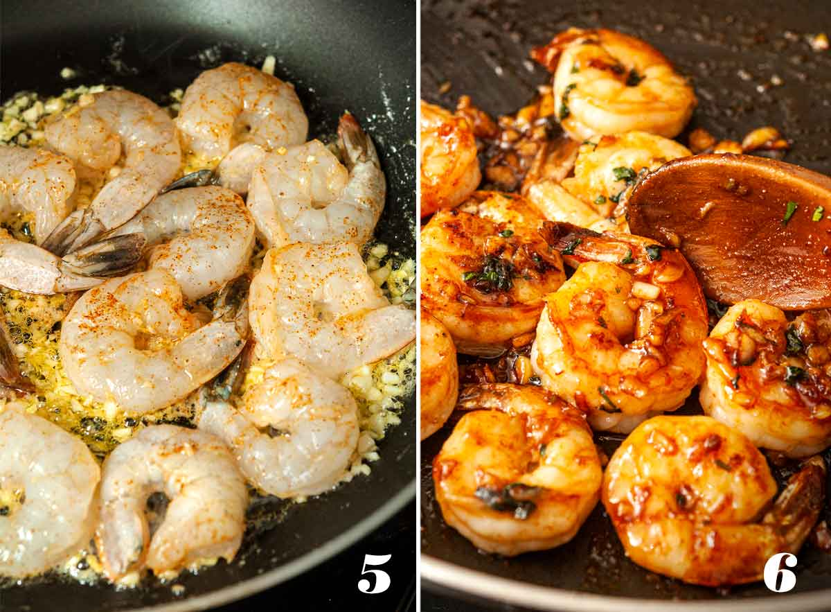 2 numbered images showing how to make ginger lime honey shrimp.