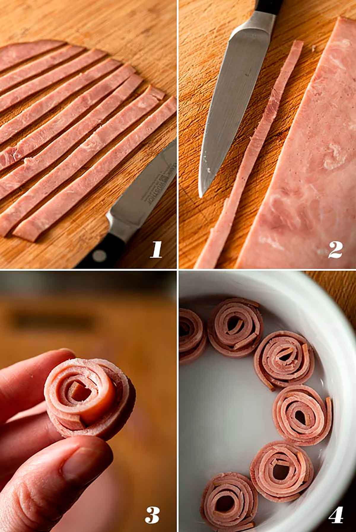 A collage of 4 numbered images showing how to make ham roses.