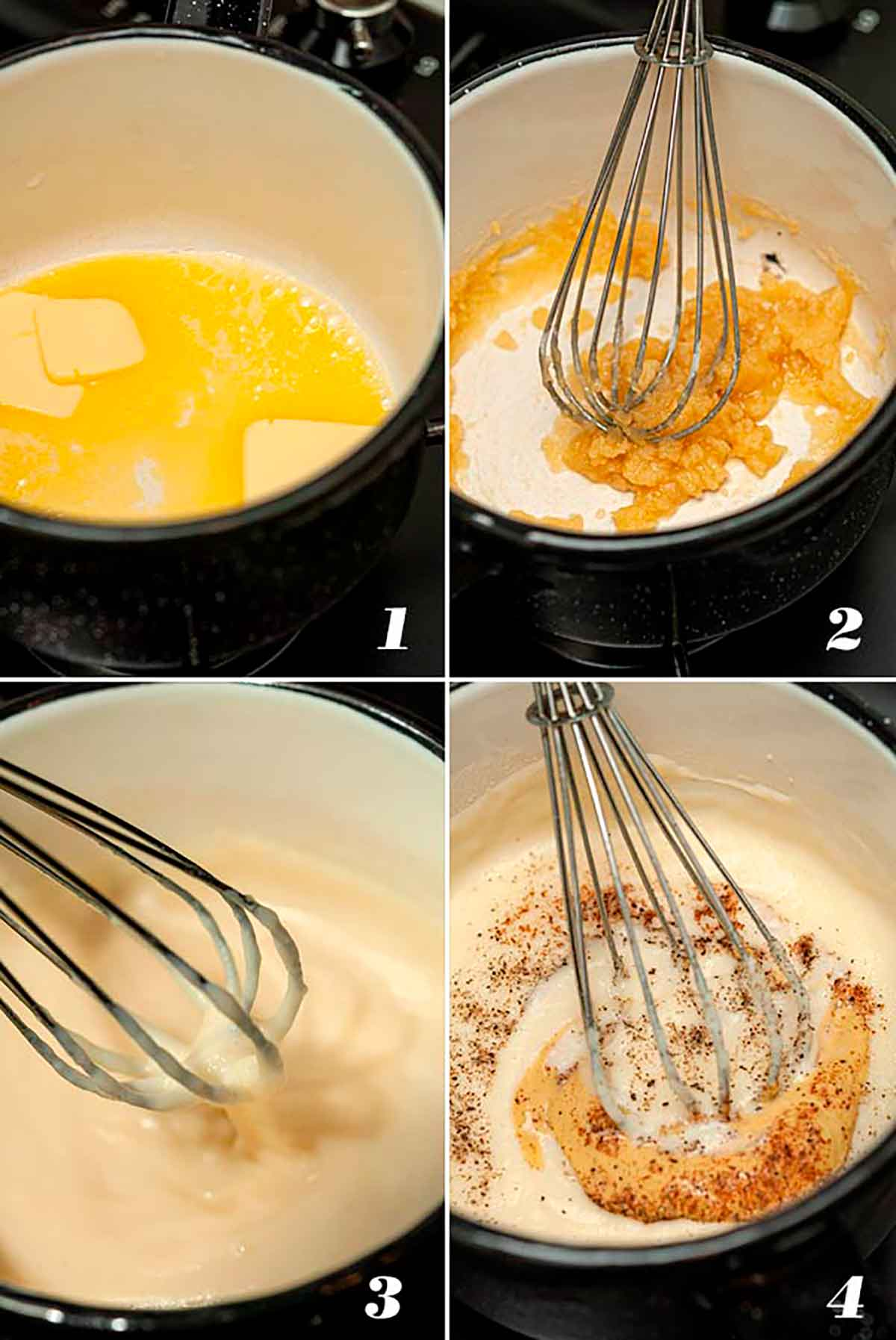 A collage of 4 numbered images showing how to make béchamel sauce.