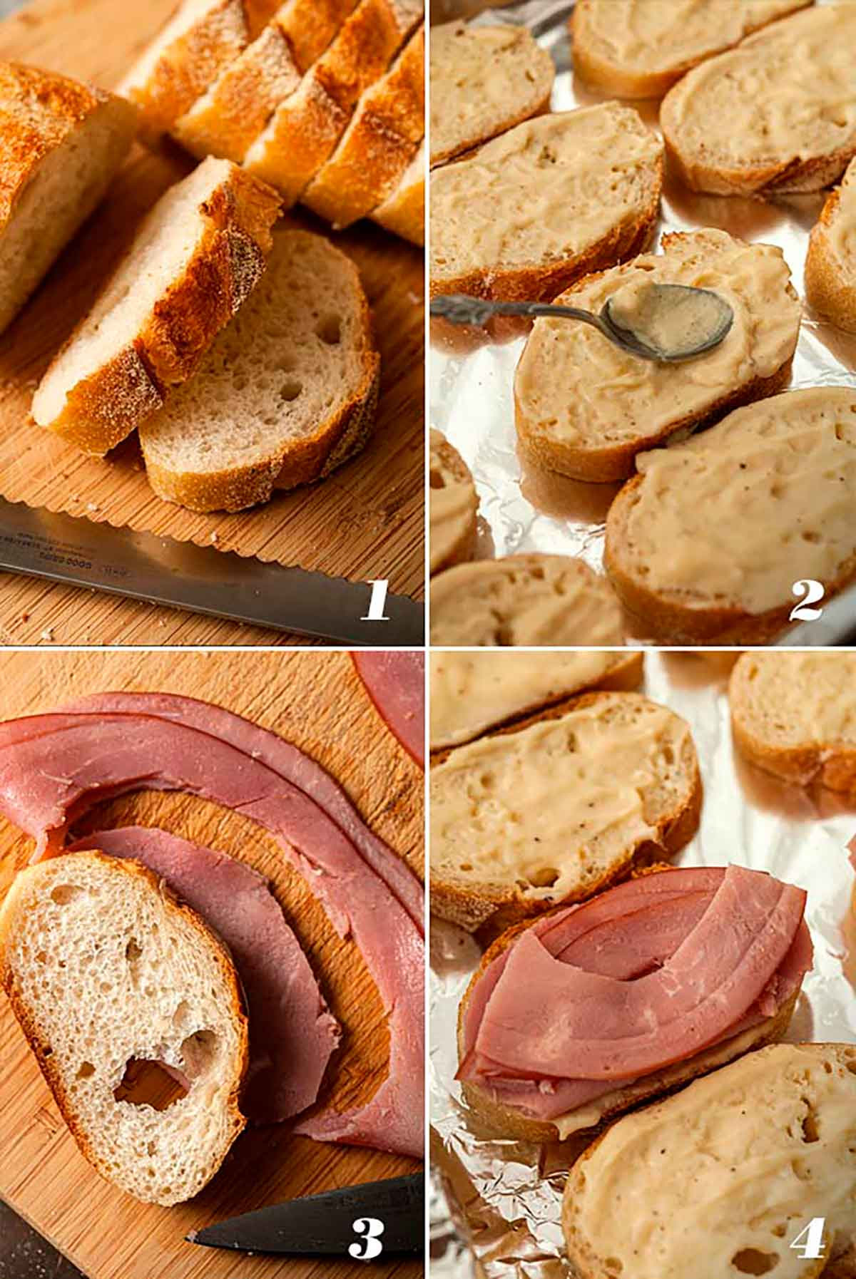 A collage of 4 numbered images showing how to slice bread, smear with sauce, slice ham and place on bread.