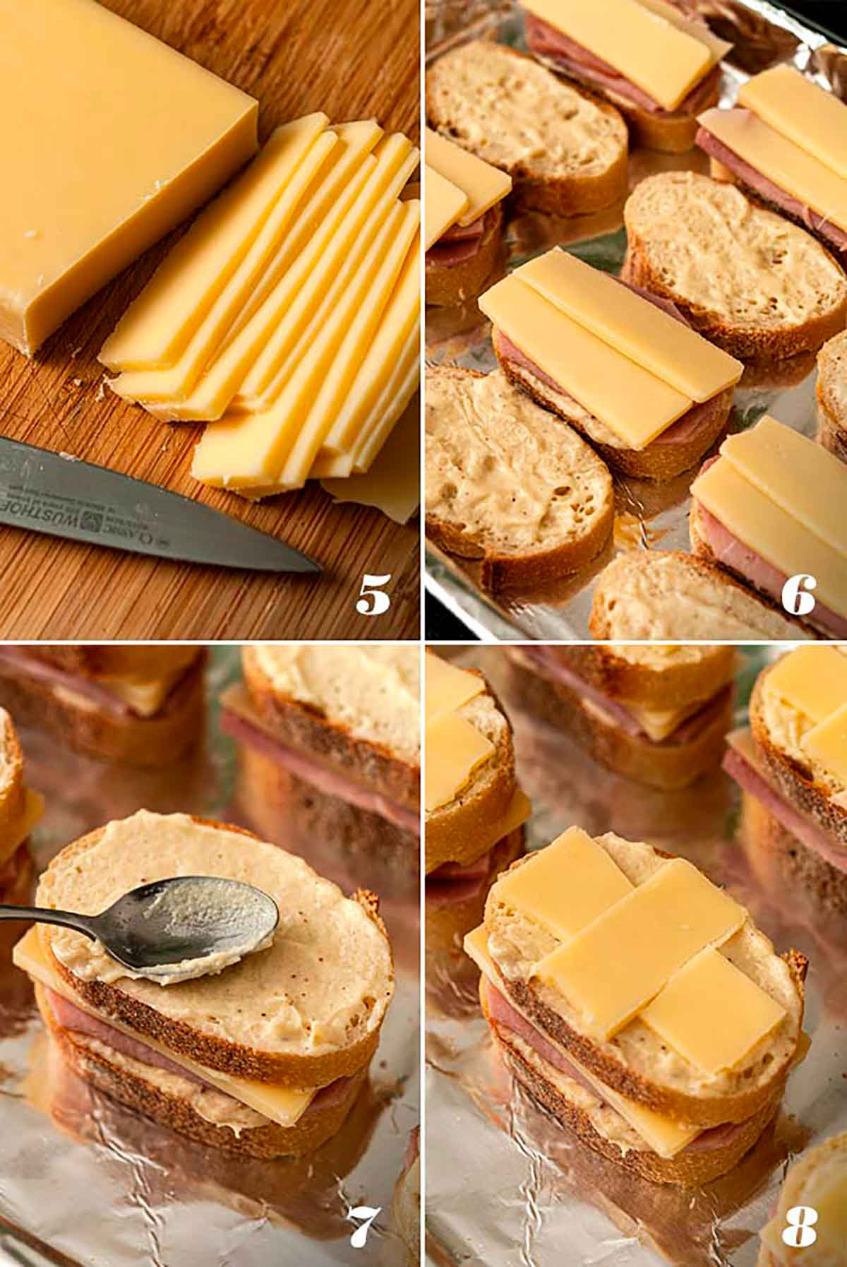 A collage of 4 numbered images showing how to slice cheese, and assemble croque monsieur on a baking sheet.