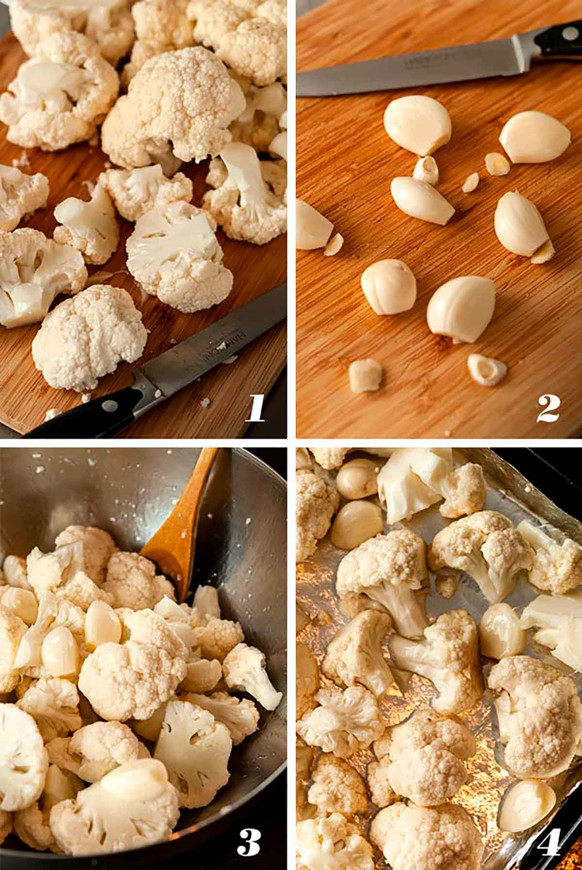 A collage of 4 numbered images showing how to roast cauliflower and garlic.
