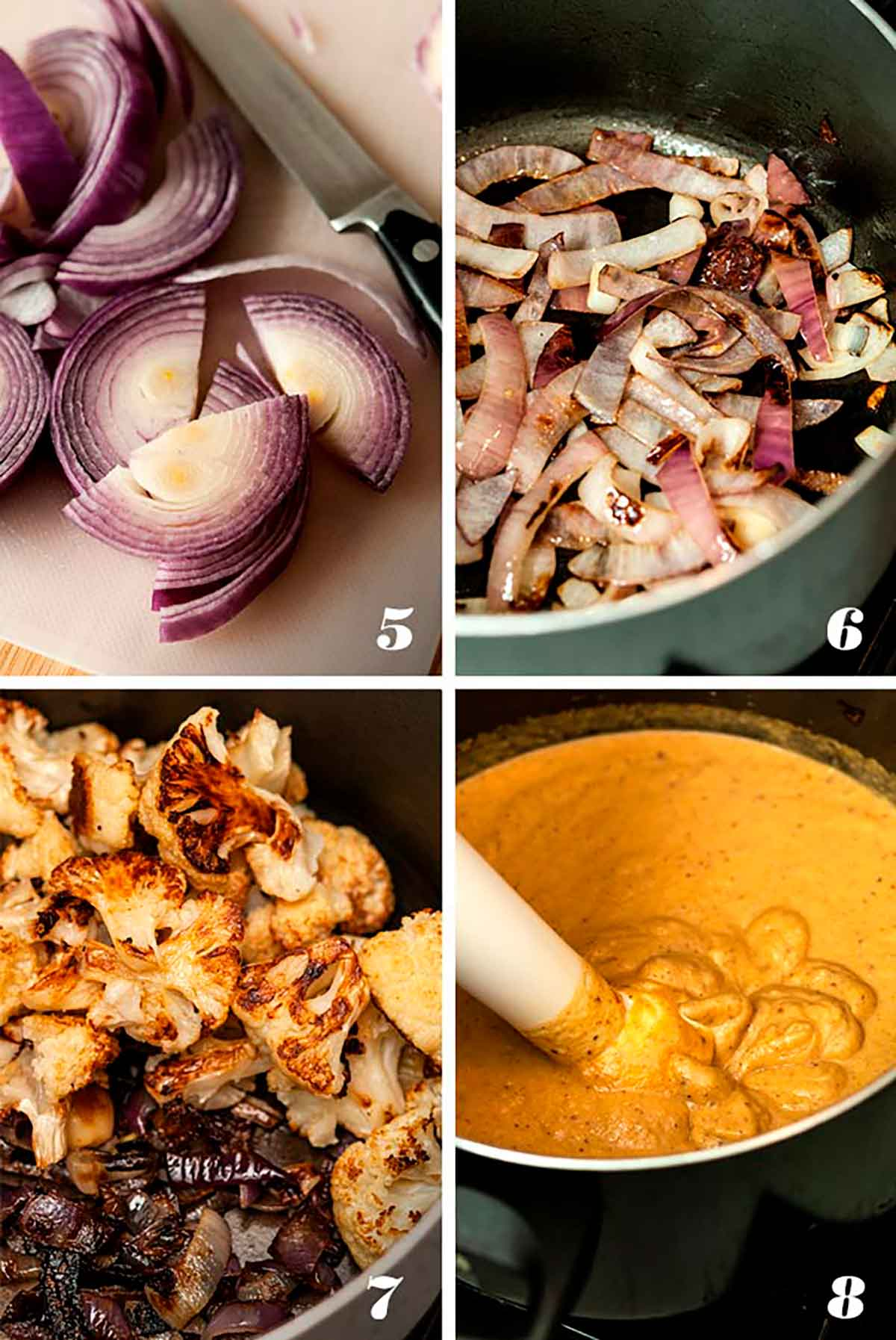 A collage of 4 numbered images showing how to brown onions and combine ingredients into soup.