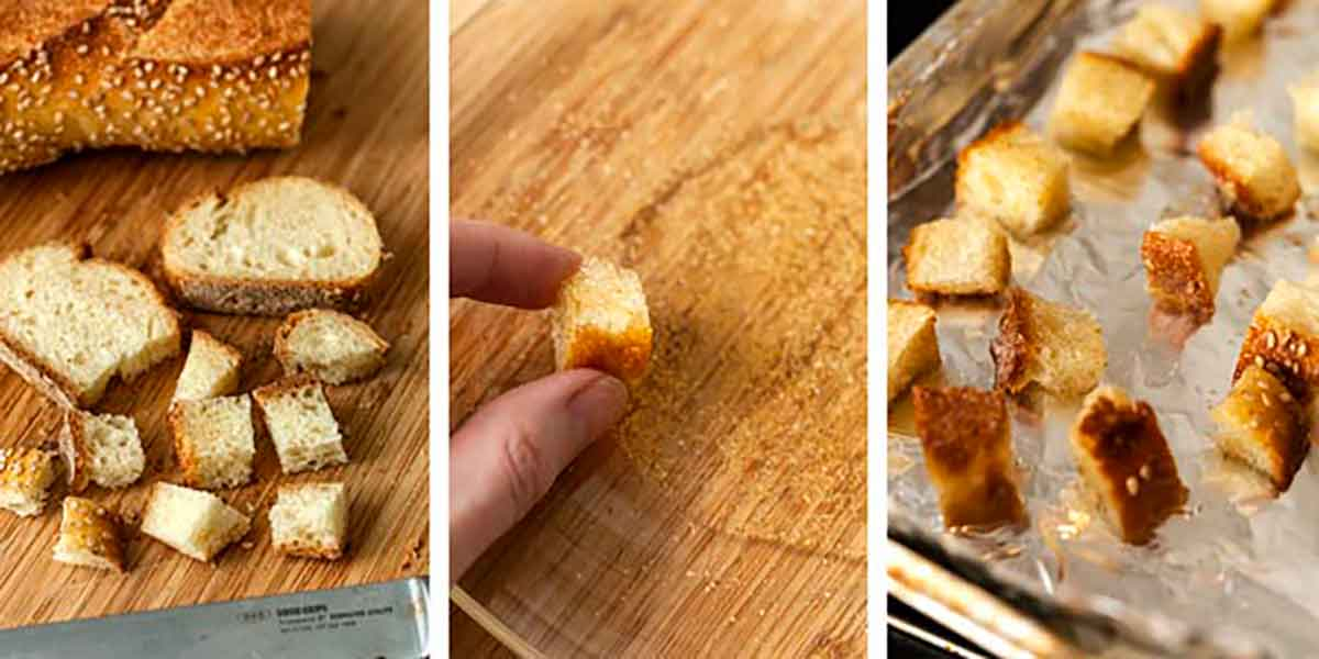 A collage of 3 images showing how to make croutons.