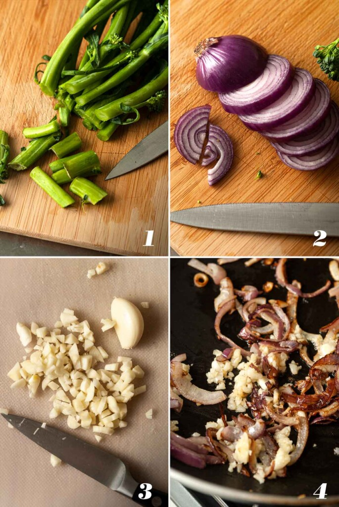 A collage of 4 numbered images showing how to prepare ingredients for sautéed broccoli rabe.