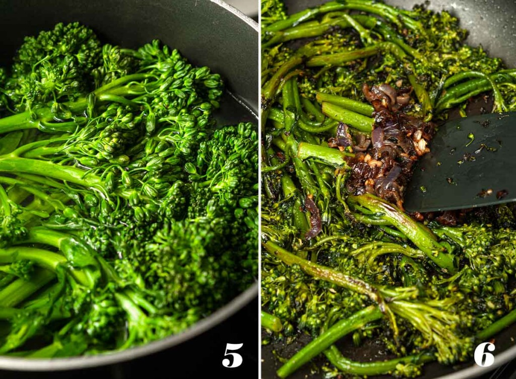 2 numbered images showing how to make sautéed broccoli rabe.