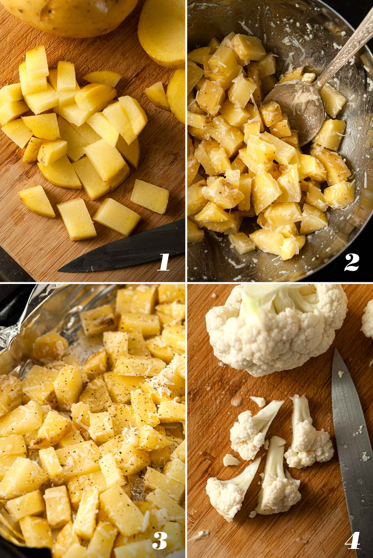 A collage of 4 numbered images showing how to prepare potato for Cauliflower and Kale Potato Hash.