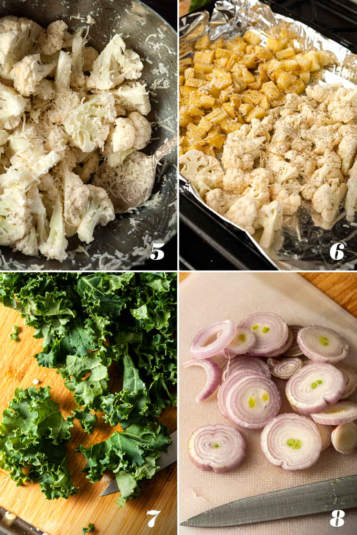 A collage of 4 numbered images showing how to prepare ingredients for Cauliflower and Kale Potato Hash.
