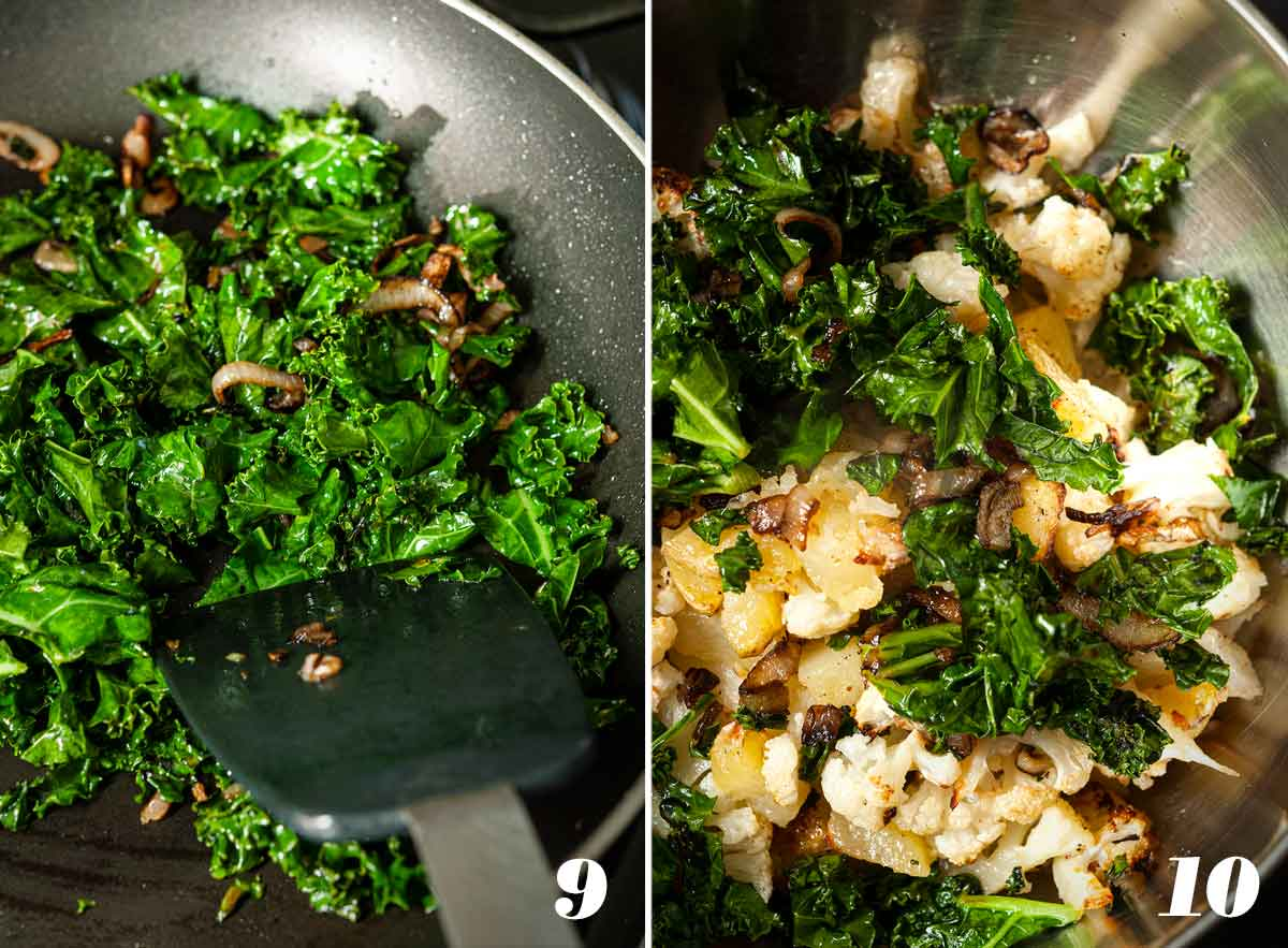 2 numbered images showing how to sauté shallots and kale, and mix into potatoes and cauliflower.