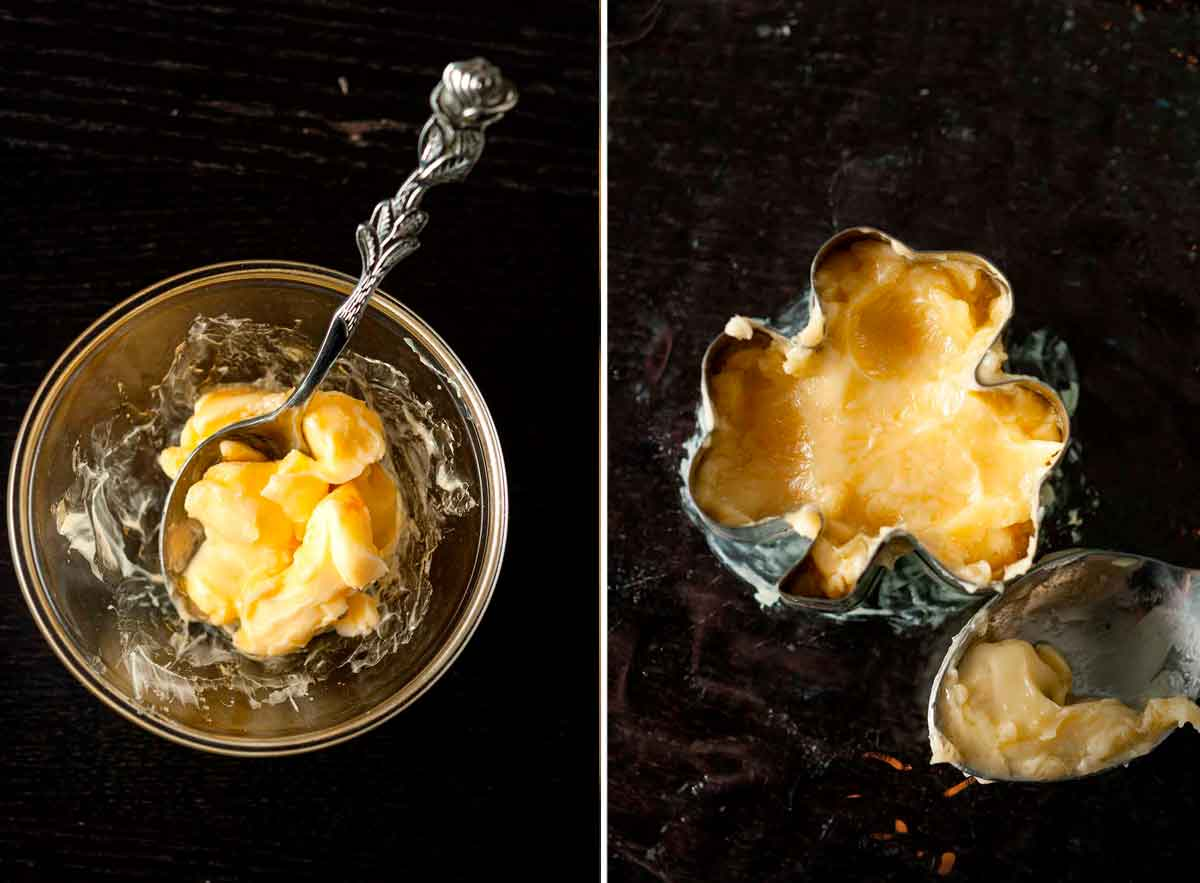 2 images: one, of a small bowl with soft butter and small mixing spoon, the other is butter in a shamrock cookie cutter.