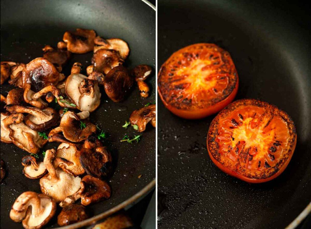 2 images: one of sautéing mushrooms in a pan and the other, of 2 seared tomatoes in a pan.