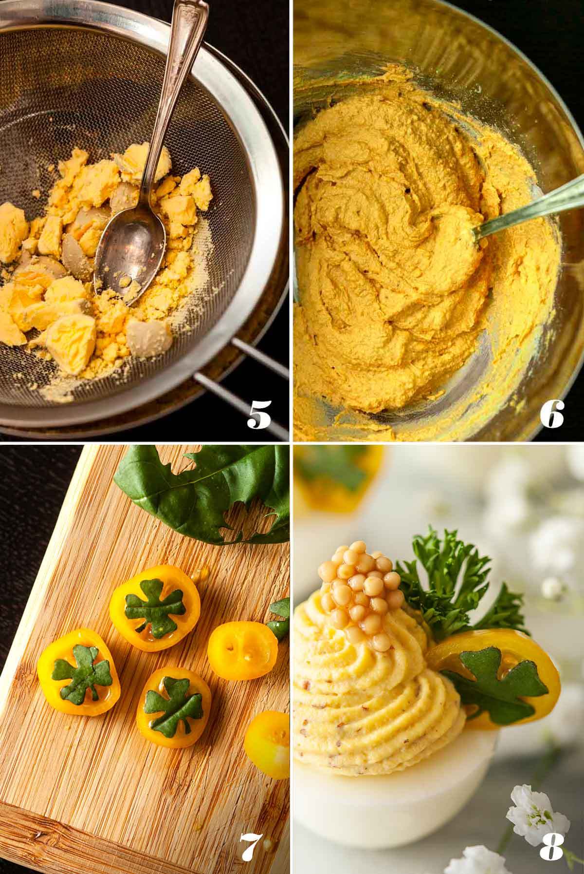 4 numbered images showing how to make St. Patrick's Day Deviled Eggs.