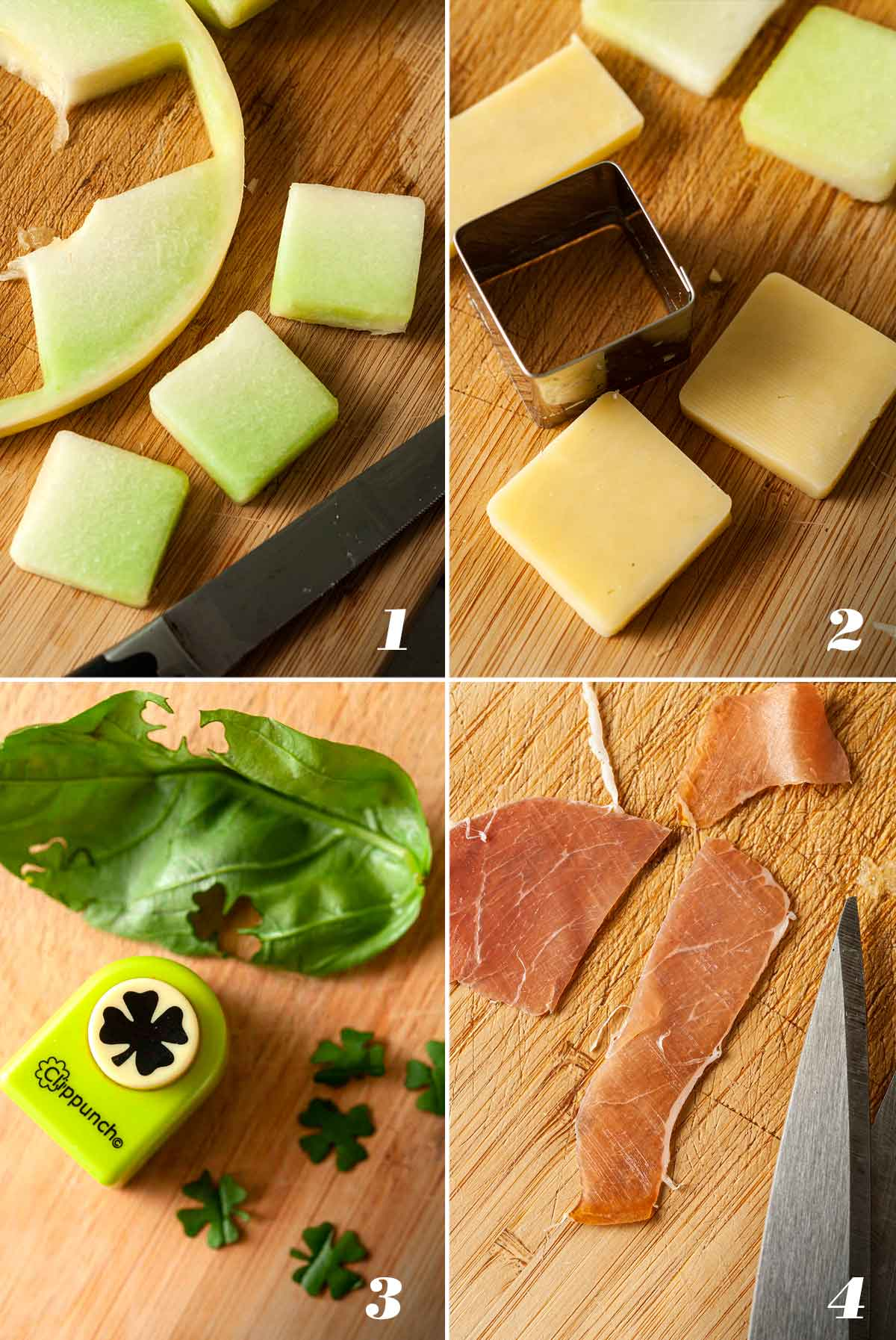 4 numbered images showing how to make melon appetizers.