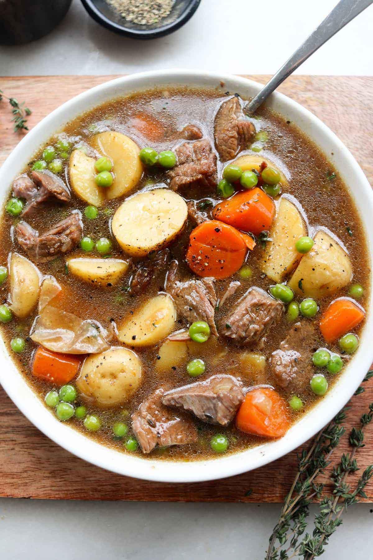 A hearty bowl of Irish lamb stew.