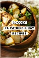 "A bowl of potato hash with a title that says ""10 Cozy St. Patrick's Day Recipes."""