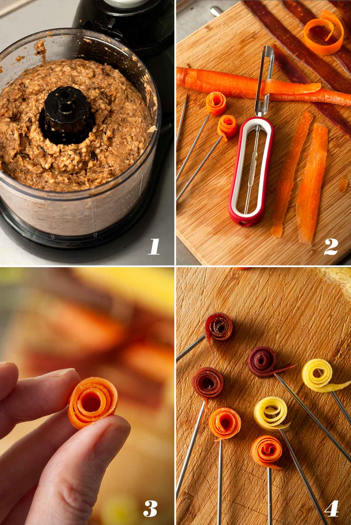 A collage of 4 images showing how to make mushroom pâté and carrot roses.