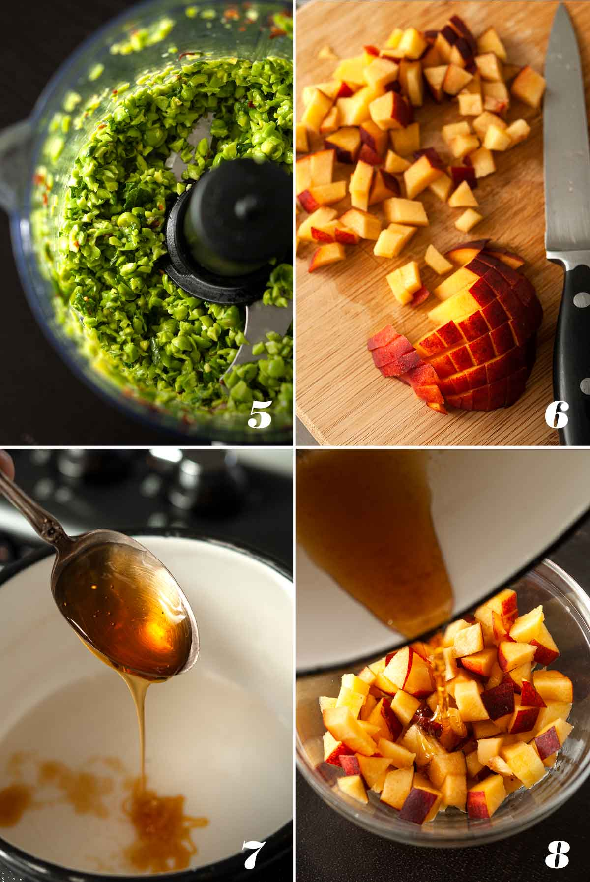 A collage of 4 images showing how to create toppings for crostini.