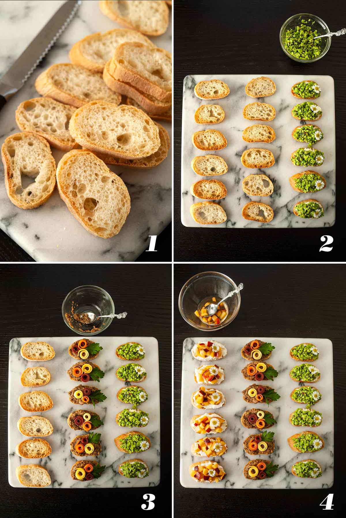A collage of 4 images showing how to add toppings to crostini.