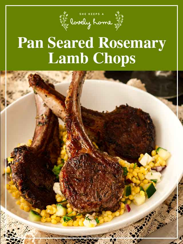"Lamb chops in a bowl with couscous with a title that says ""Pan Seared Rosemary Lamb Chops."""