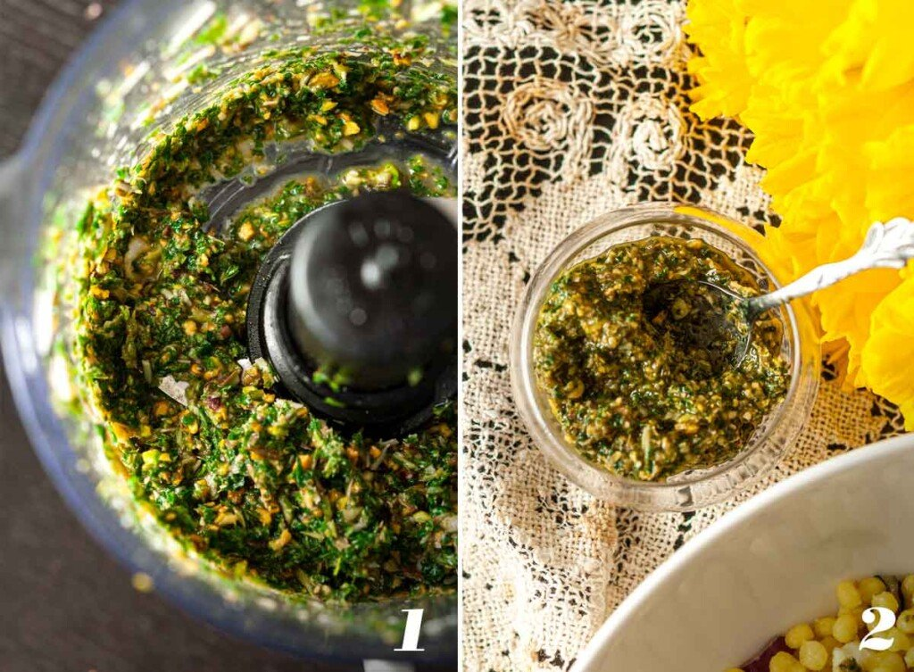 2 numbered images showing how to make mint pesto.