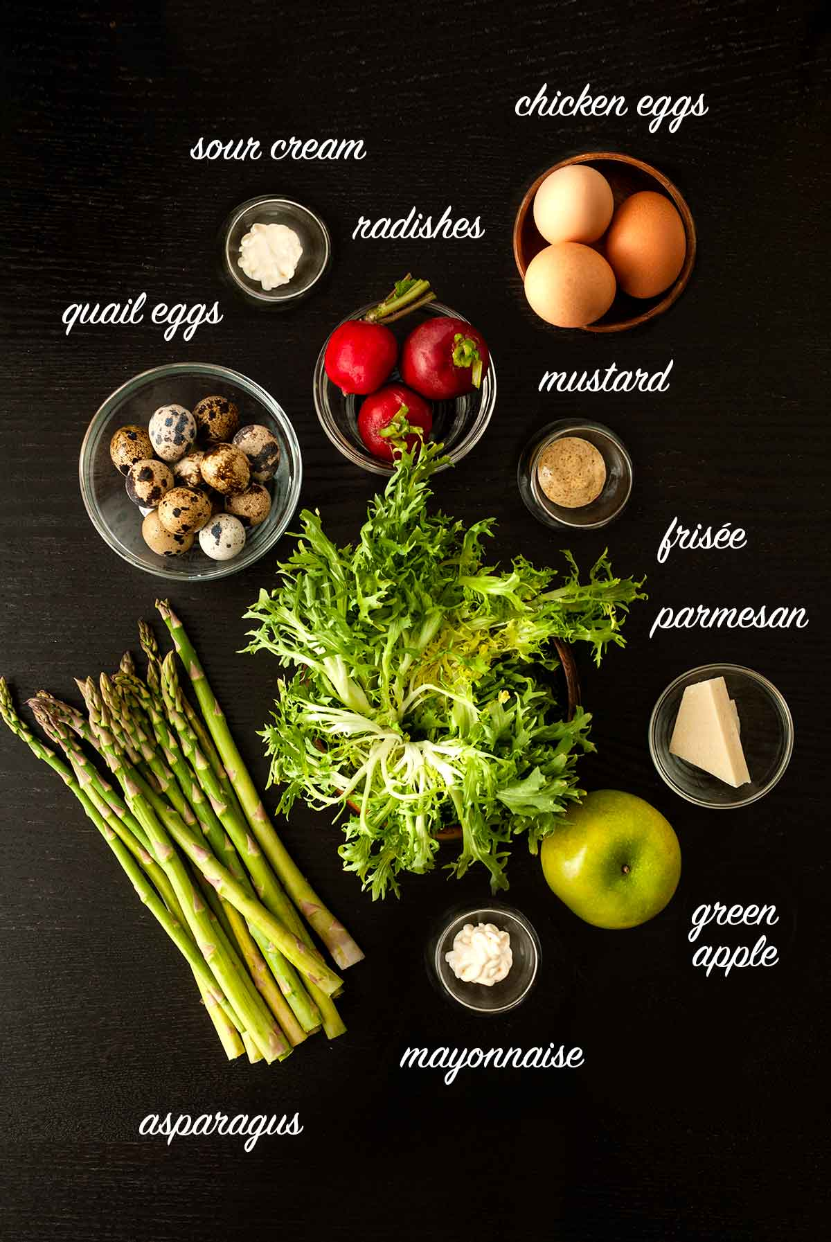 Ingredients for a salad on a table with text labels of what they are.
