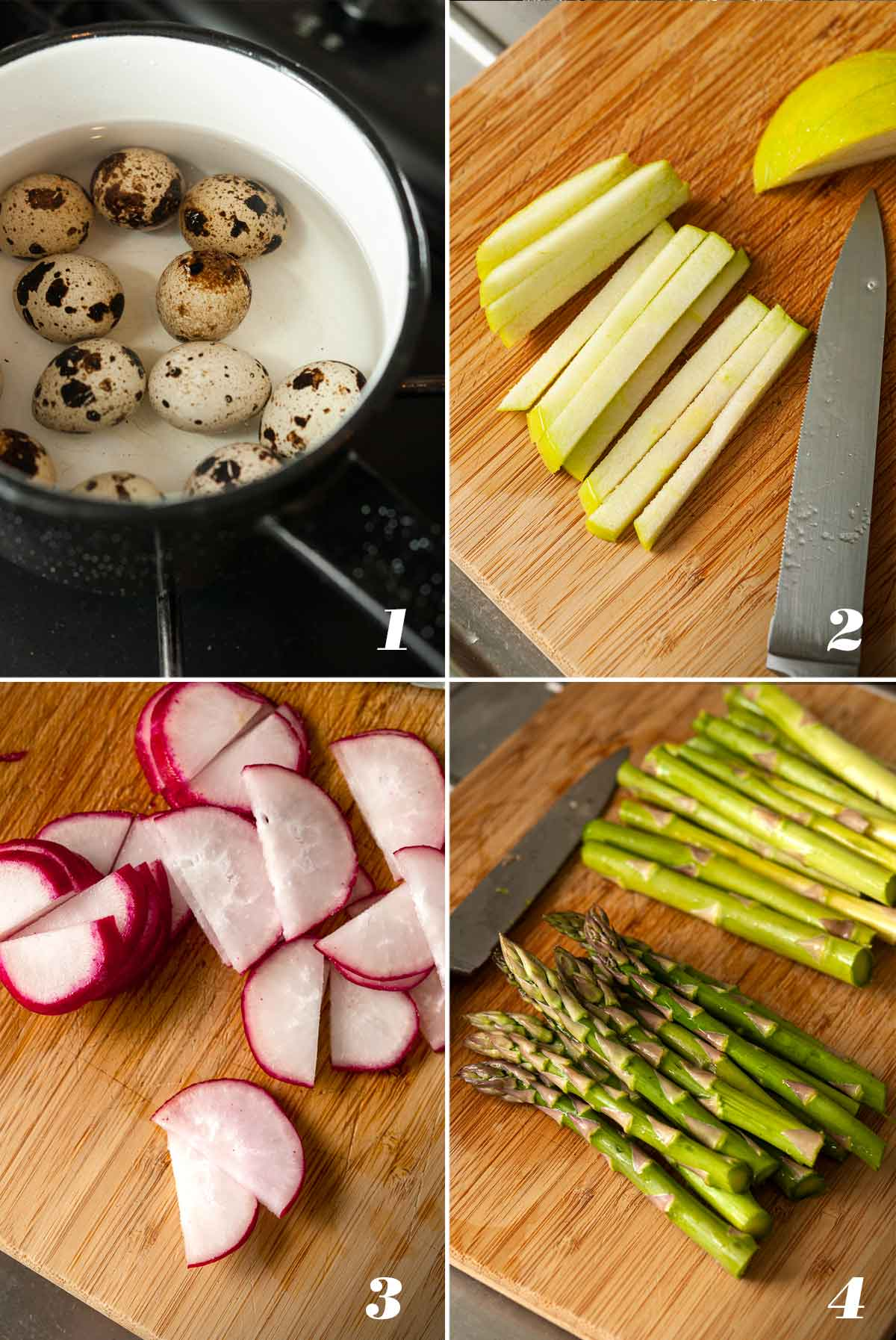 A collage of 4 images showing how to prep ingredients for a salad.