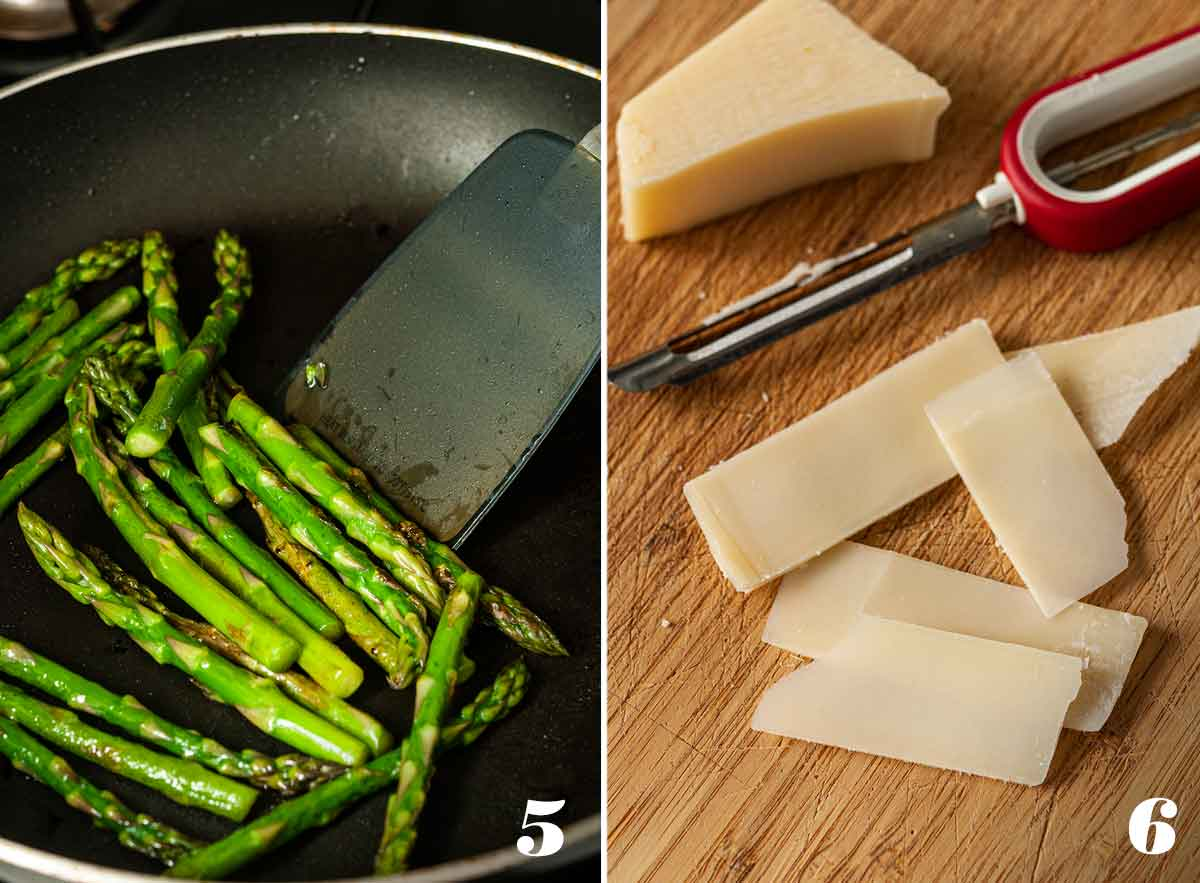 2 numbered images showing how to sauté asparagus and shave parmesan.