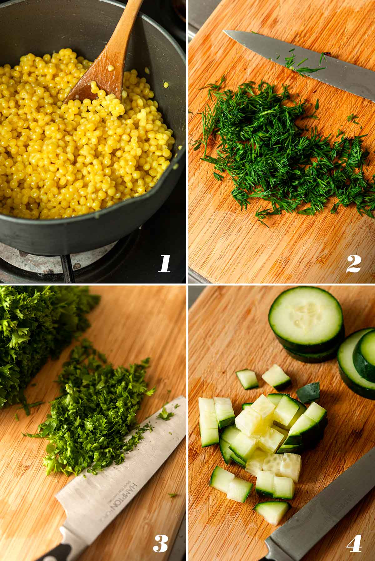 A collage of 4 images showing how to make lemon turmeric pearl couscous.
