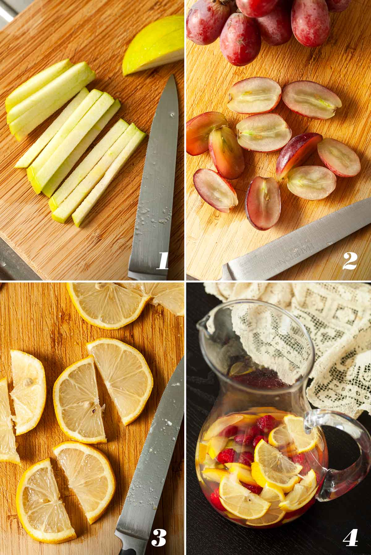 A collage of 4 images showing how to make sake sangria.