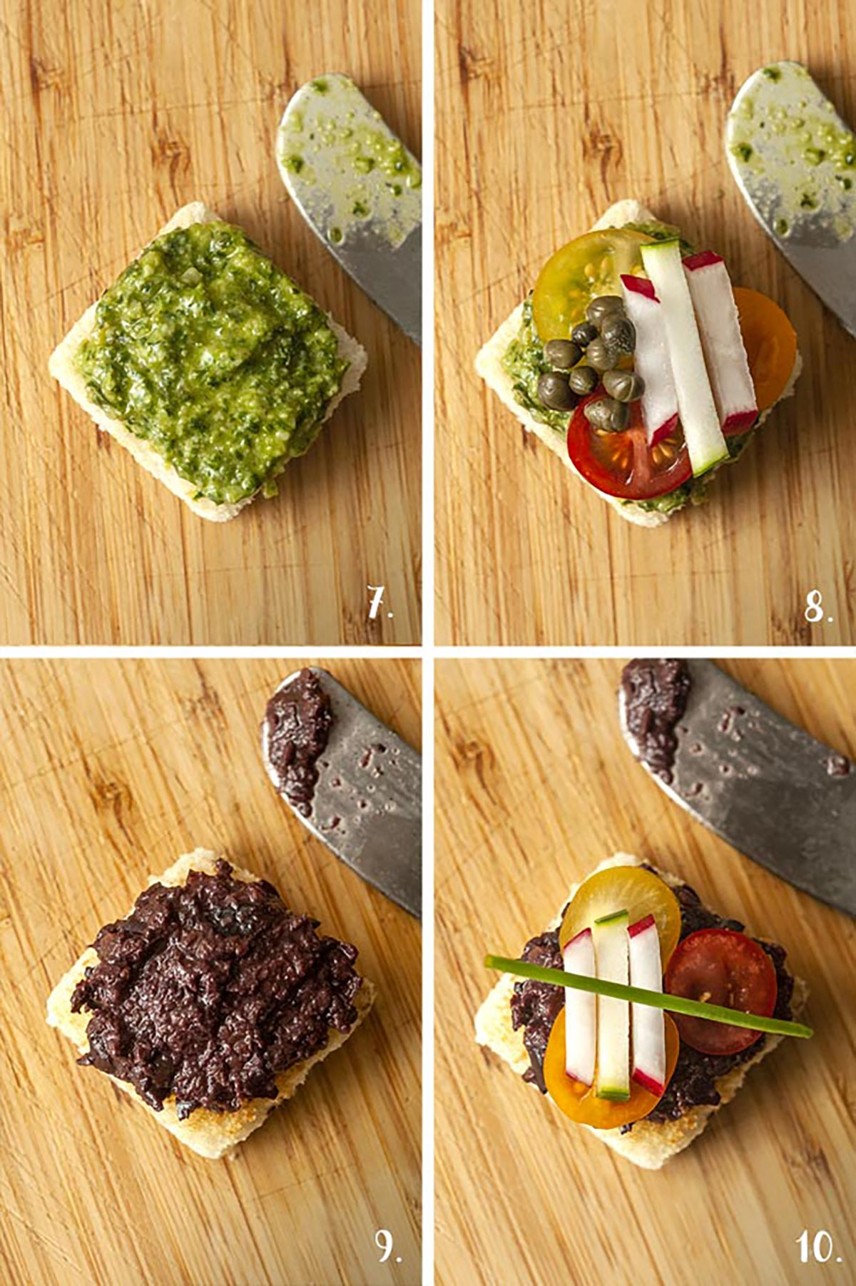 A collage of 4 numbered images showing how to make canapés with small, chopped vegetables.