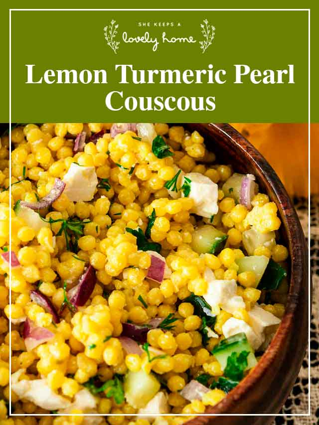 """A bowl of turmeric couscous and a title that says """"Lemon Turmeric Pearl Couscous."""""""