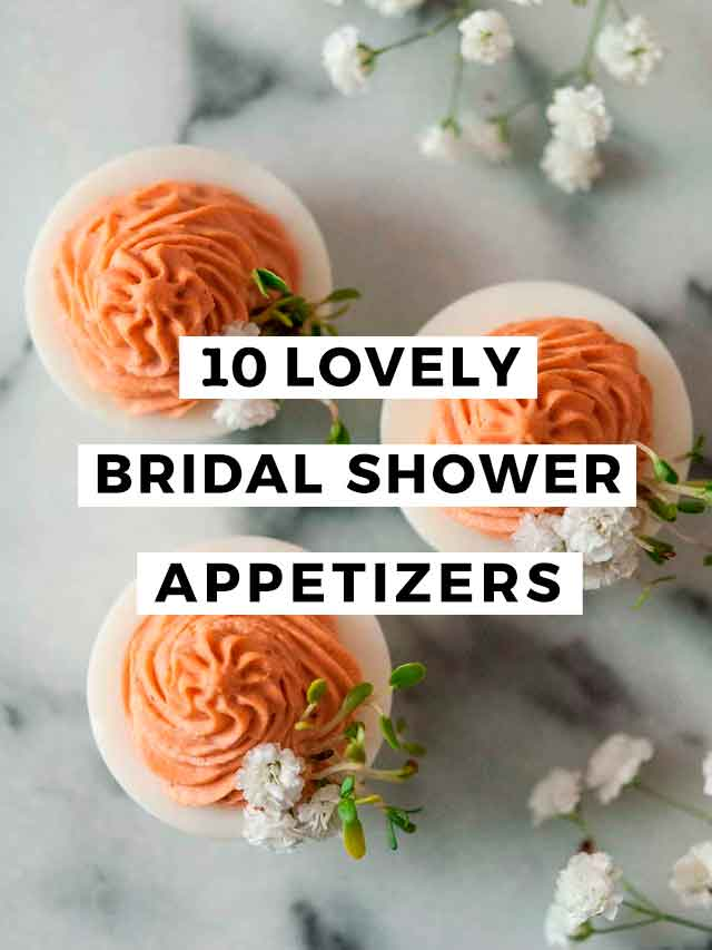 "3 pink deviled eggs with flowers and a title that says ""10 Lovely Bridal Shower Appetizers."""