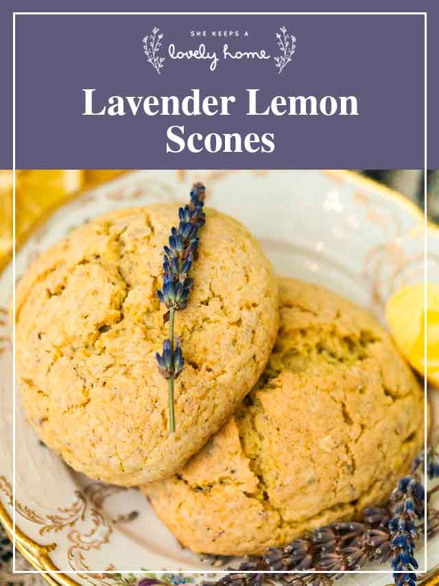 "Two scones on plates with fresh lavender and a title that says ""Lavender Lemon Scones."""