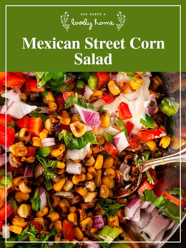 """Corn salad in a wooden bowl with a title that says """"Mexican Corn Salad."""""""