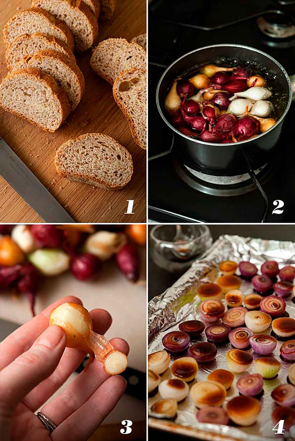 A collage of 4 numbered images showing how to slice bread and prep pearl onions for roasting.