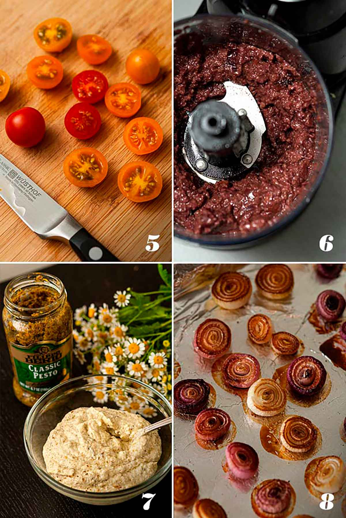 A collage of 4 numbered images showing how to slice tomatoes, make tapenade, make pesto ricotta and baked onions.