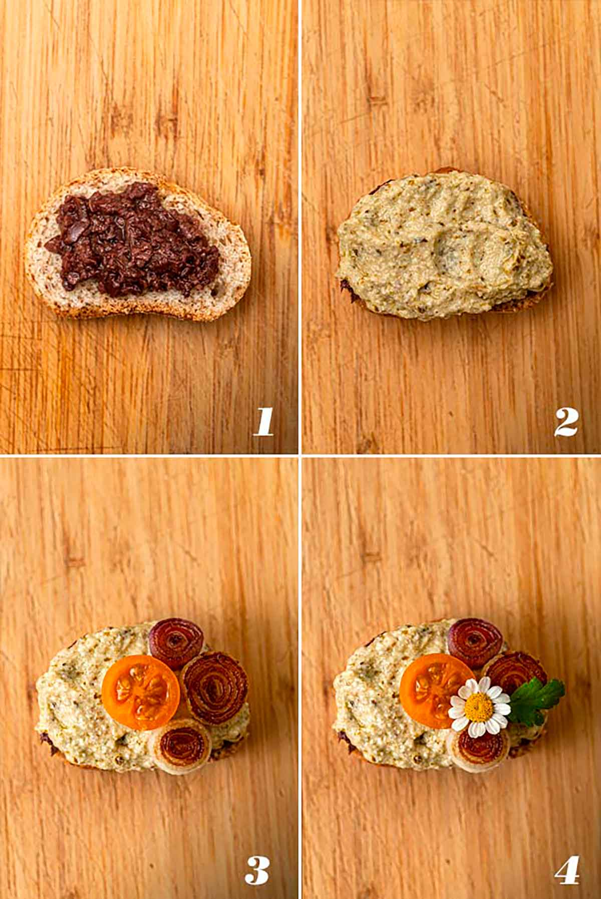A collage of 4 numbered images showing how to assemble crostini.
