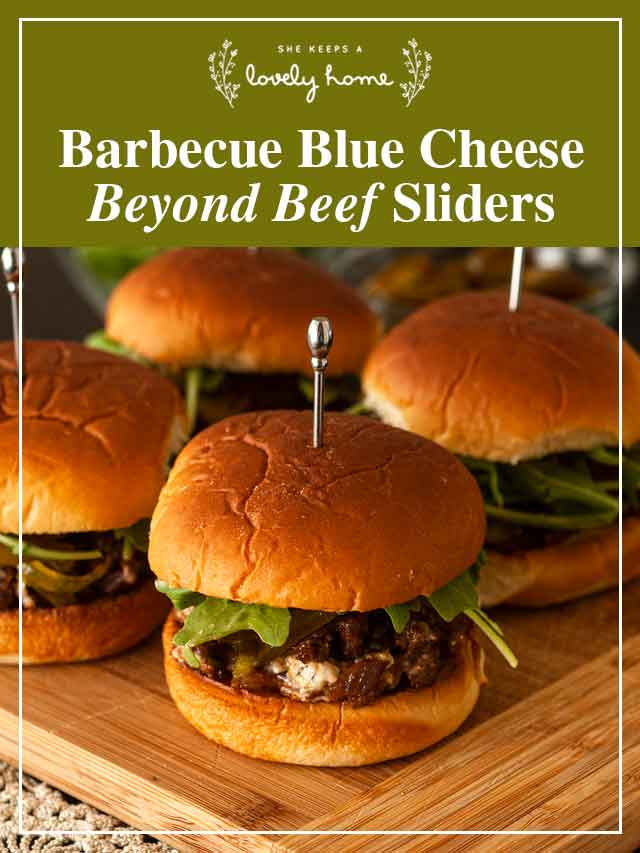 """4 sliders on a cutting board and a title that says """"Barbecue Blue Cheese Beyond Beef Sliders."""""""