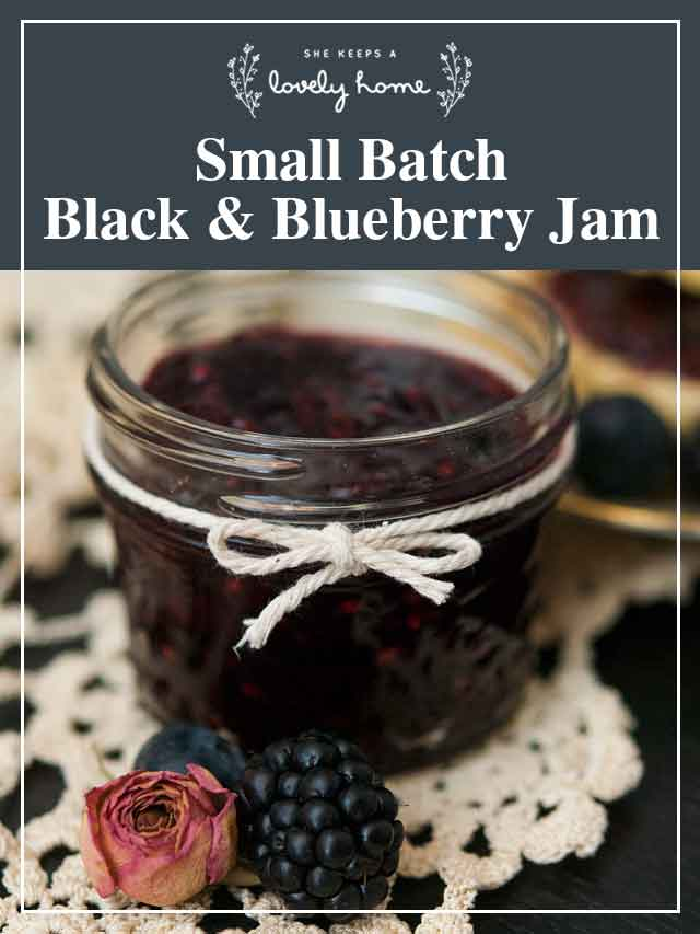 """A small jar of jam, with a title that says """"Small Batch Black & Blueberry Jam."""""""