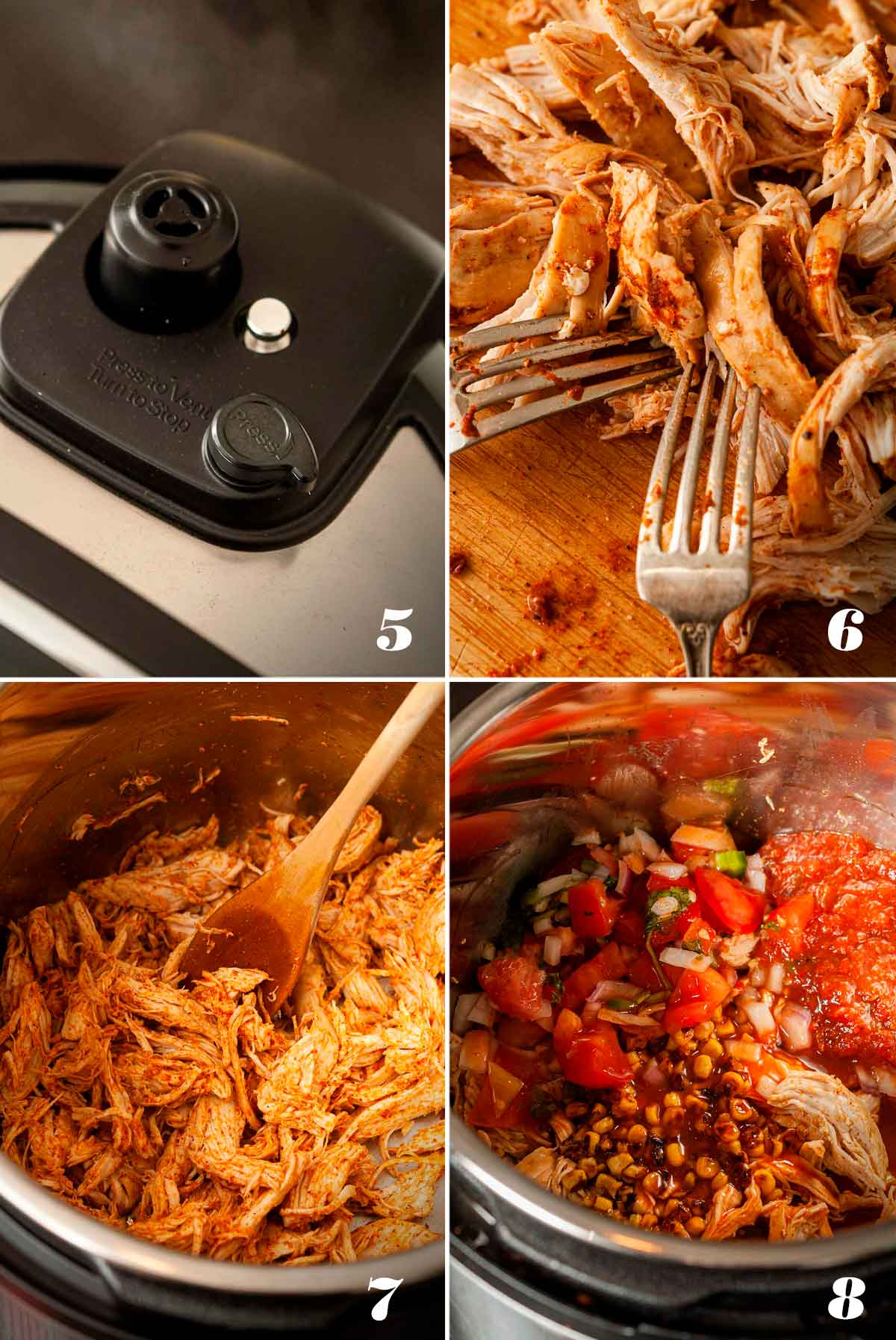 A collage of 4 numbered images showing how to make chicken enchiladas.